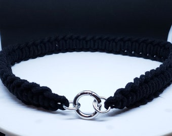Hand Made Shibari Themed  Training Slave Collar 100 percent Cotton and Stainless Steel