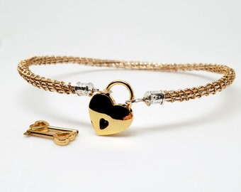 Tucker Twist No16 Sterling Silver &14kt gold filled high fashion slave collar With Gold Tone Heart Padlock Clasp