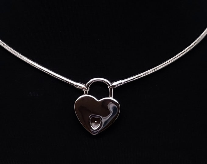 Featured listing image: Ultra Discreet Sterling Silver Slave Collar 3mm Diameter Omega Chain with Sterling Heart Padlock & 2 Sterling Silver Keys