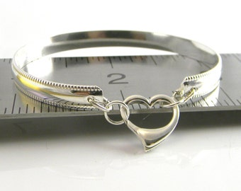 Sleek Chic number 2: Sterling Silver Slave Bracelet with Sterling Silver Heart Clasp (Made To Order)