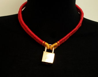 Pure cotton Red and Gold Shibari Themed Slave Training Collar with Gold Tone Padlock Unisex 16 Inch Inner Circumference