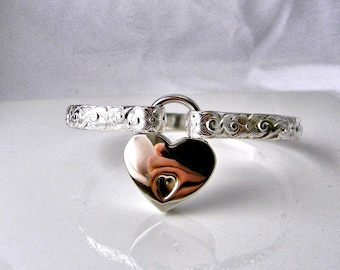 Made To Order Four Petals Sterling Silver Slave Cuff with Silver Tone Heart Padlock