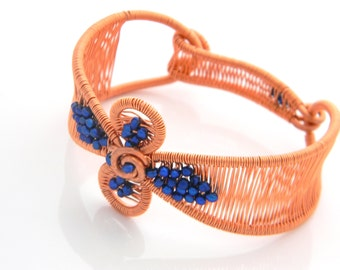 Woven Wire Copper Cuff Bracelet will fit a 5.75 to 6.25 inch wrist