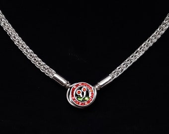 Slave Collar Cherries CZ Focal Clasp Sterling Silver Trichinopoly Viking Knit 4mm Diameter Chain
