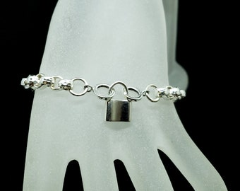 Super Discreet Heavy Hammered Silver Chain Slave Bracelet With Symbolic Padlock Shaped Spring Loaded Clasp
