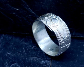 Riveted Sterling Wide Band Ring Floral Pattern Size 7