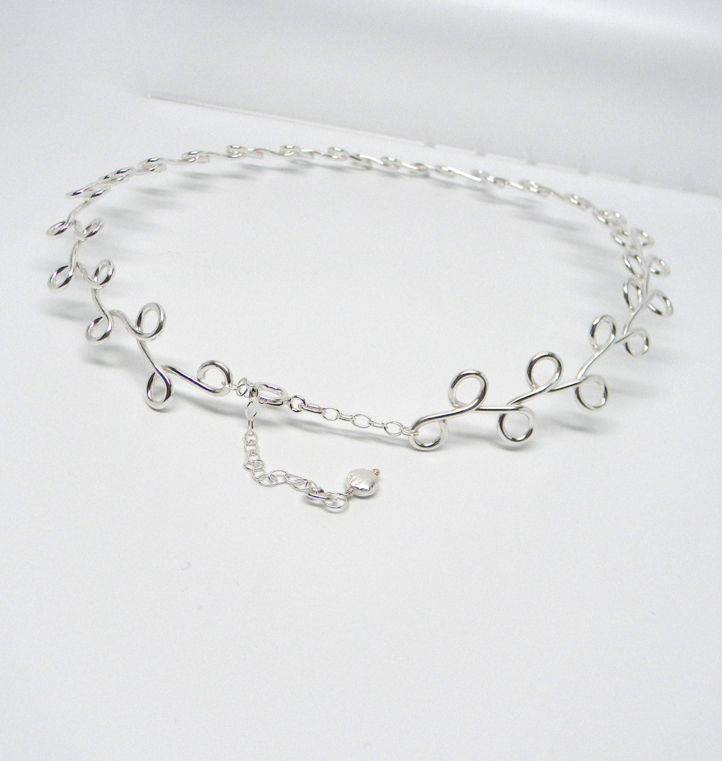 Discreet Slave Collar Vine Motif Sterling Silver or Day or Public Wear Adjustable from 16 to 18 Inches