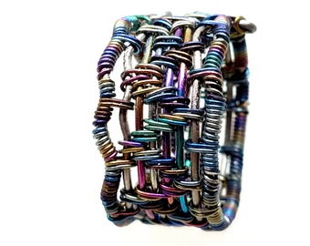 Hand woven Titanium and Anodized Peacock Niobium Wire Sculpted Cocktail Fashion Ring Size 7.5 One of a Kind.