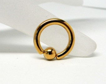 Gold platedSurgical Stainless Steel Captive Bead Ring Hoop Body Jewelry Component 8 gauge