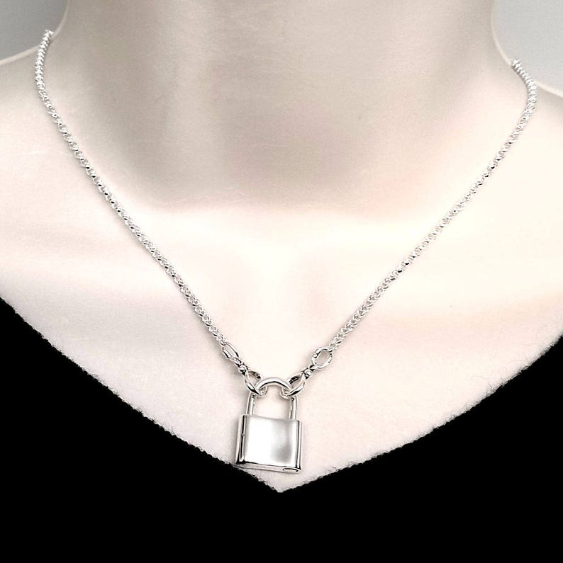Made-To-Size Symbolic Slave Collar Necklace Sterling Silver with Solid Sterling Mock Padlock