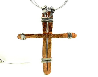 """Old Rugged Hand forged Cross Mixed Metals Sterling Silver and Copper on 19"""" Sterling Silver Chain"""