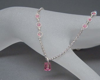 """Ultra Petitie 15"""" Pretty in Pink Sterling Silver necklace with Swarovski Crystal Elements Cube Pendant and pink bead accents."""