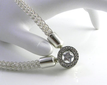 Made To Order Shining Star Sterling Silver Trichinopoly Slave Collar with Screw Closed Stainless & CZ Focal Clasp