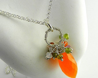 Baby Carrot Carnelian Gemstone Cluster Pendant on Sterling silver Chain