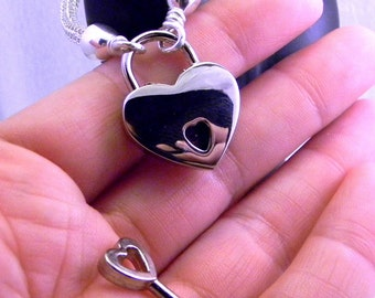 Small Polished Nickel Heart Padlock/clasp 22mm wide, 30 mm from hasp top to point, 4mm deep