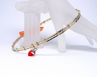 MADE TO ORDER Mixed Metals Off Center Love-Sterling Silver & 14kt gold fill Slave Collar