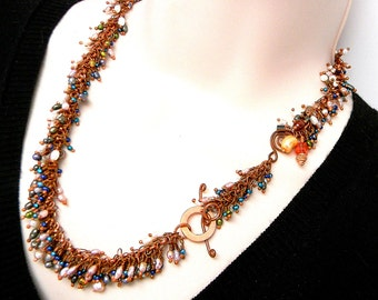 """Shaggy Pearl Garland 19"""" Hand linked Copper Necklace with Swarovski Crystal Elements Asymmetrical Focal Feature and togge Clasp"""