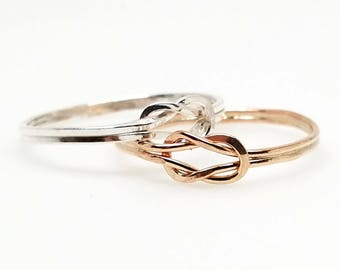 Knot an Ordinary Kind of Love Shibari Themed Gold Filled Reef Knot Promise Ring