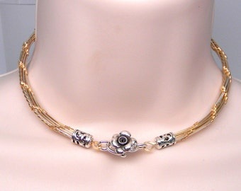 Made To Order Tucker Twist No 5 Sterling Silver &14kt gold filled high fashion slave collar