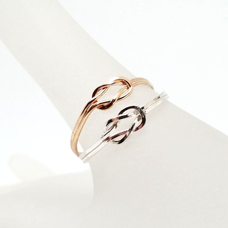 Knot an Ordinary Kind of Love Shibari Themed Sterling Silver Reef Knot Promise Ring