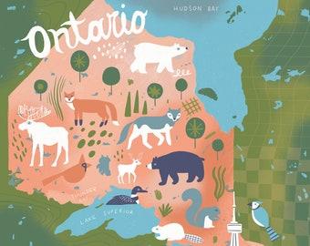 Ontario Illustrated Map - Ontario Wall Art - Canada Map
