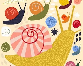 Snails Art Print - Snails Wall Art - Snails Illustration (8x8)