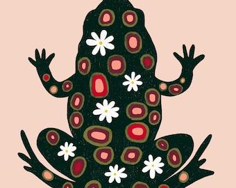 Frog Art Print - Frog Wall Art - Frog Illustration (8x8)