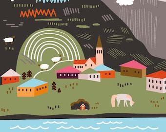 Iceland - Illustration Print (8x8)