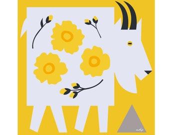 "Mountain Goat Art Print - Buttercups - 8"" by 8"""