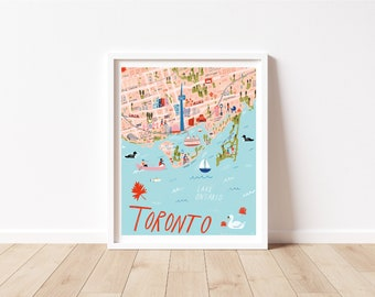 """Toronto Art - Toronto Illustrated Map Wall Art - 8"""" by 10"""" Vertical"""