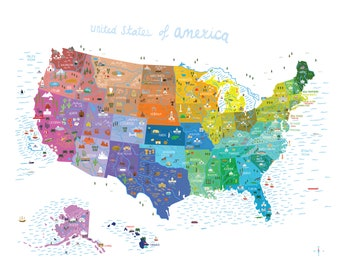 """USA Map Print - Illustrated Map - Colourful - 8""""x10"""""""