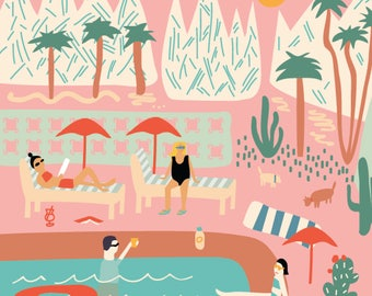 Palm Springs Print - California Illustration - (8x8)