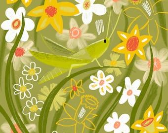 Grasshopper Art Print - Daffodil Wall Art - (8x8)