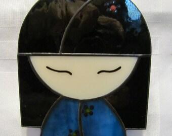 Japanese Kokeshi Doll Stained Glass Suncatcher