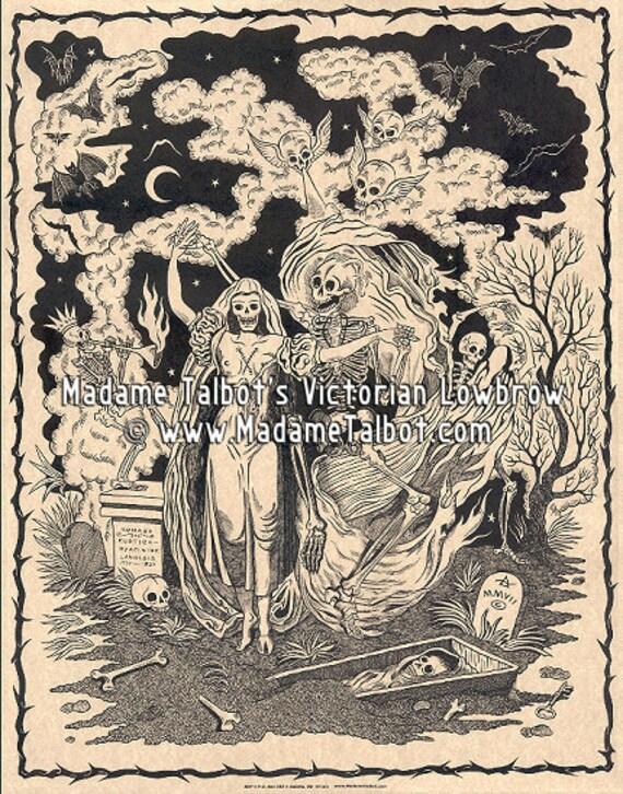 Danse Macabre Dancing In The Graveyard Victorian Lowbrow Skeleton Poster