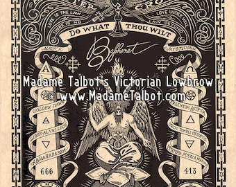 Madame Talbot's Aleister Crowley Baphomet Victorian Lowbrow Occult Magick OTO Poster