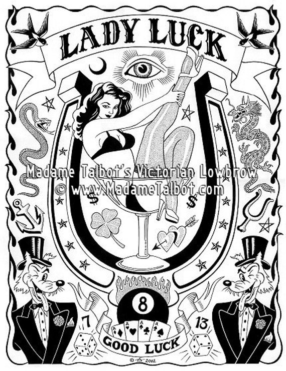 a5f7d0ab1 Lady Luck Poker Tattoo Lowbrow Lucky Fortune Poster Madame   Etsy
