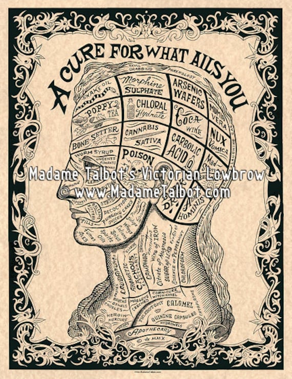 A Cure For What Ails You Phrenology Drugs Medical Apothecary Etsy
