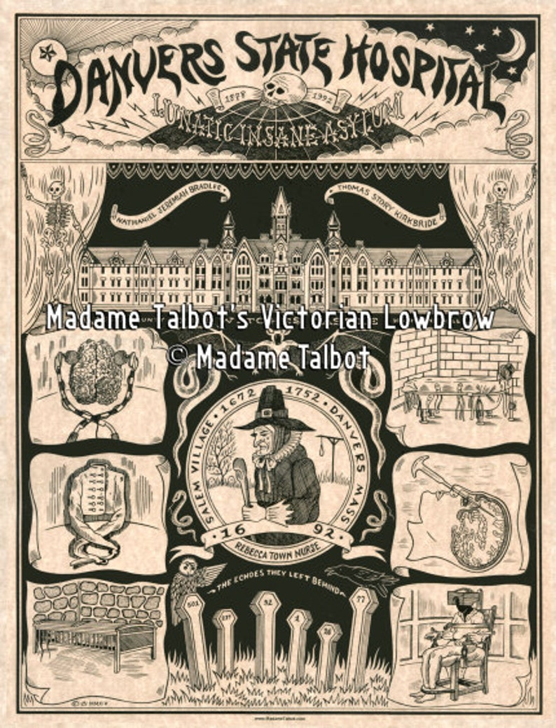 Danvers Insane Asylum Lunatic State Hospital Salem Witch Trials Victorian  Lowbrow Poster