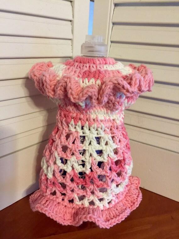 Crochet Kitchen Dishcloth Dish Soap Bottle Cover Dress Shower Etsy