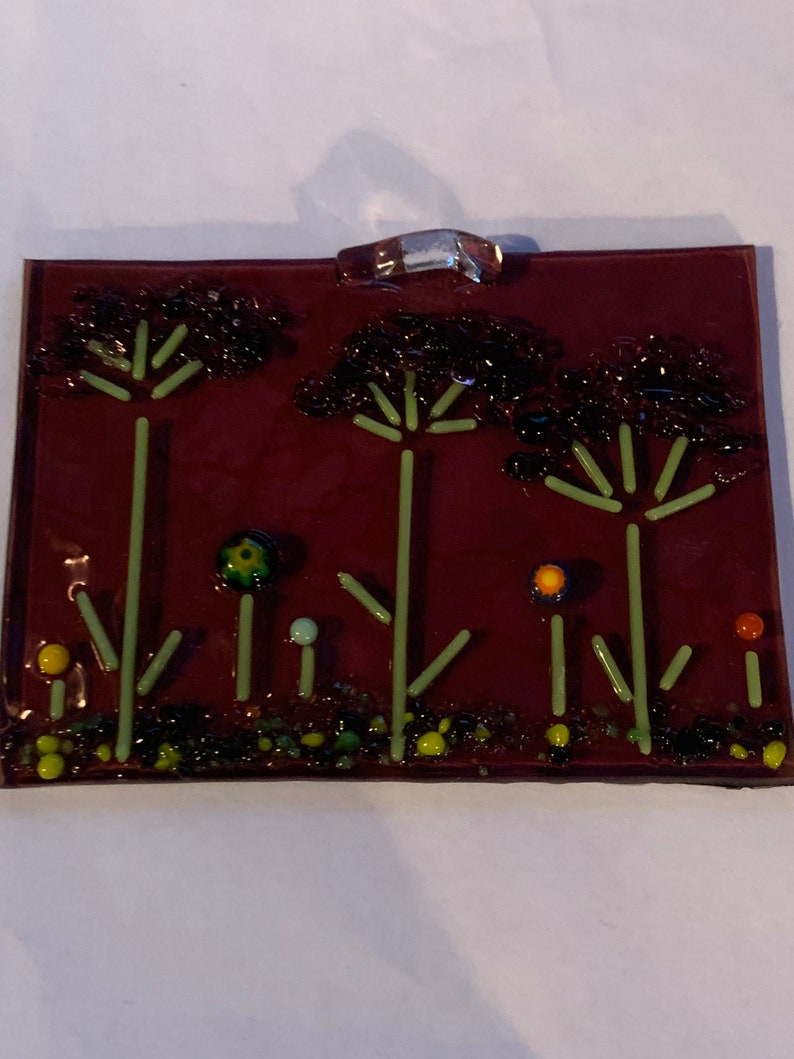 on Transparent Purple background glass Handmade Fused Glass hanging panel millefleurs accents Make a Wish Dandelion Puffs