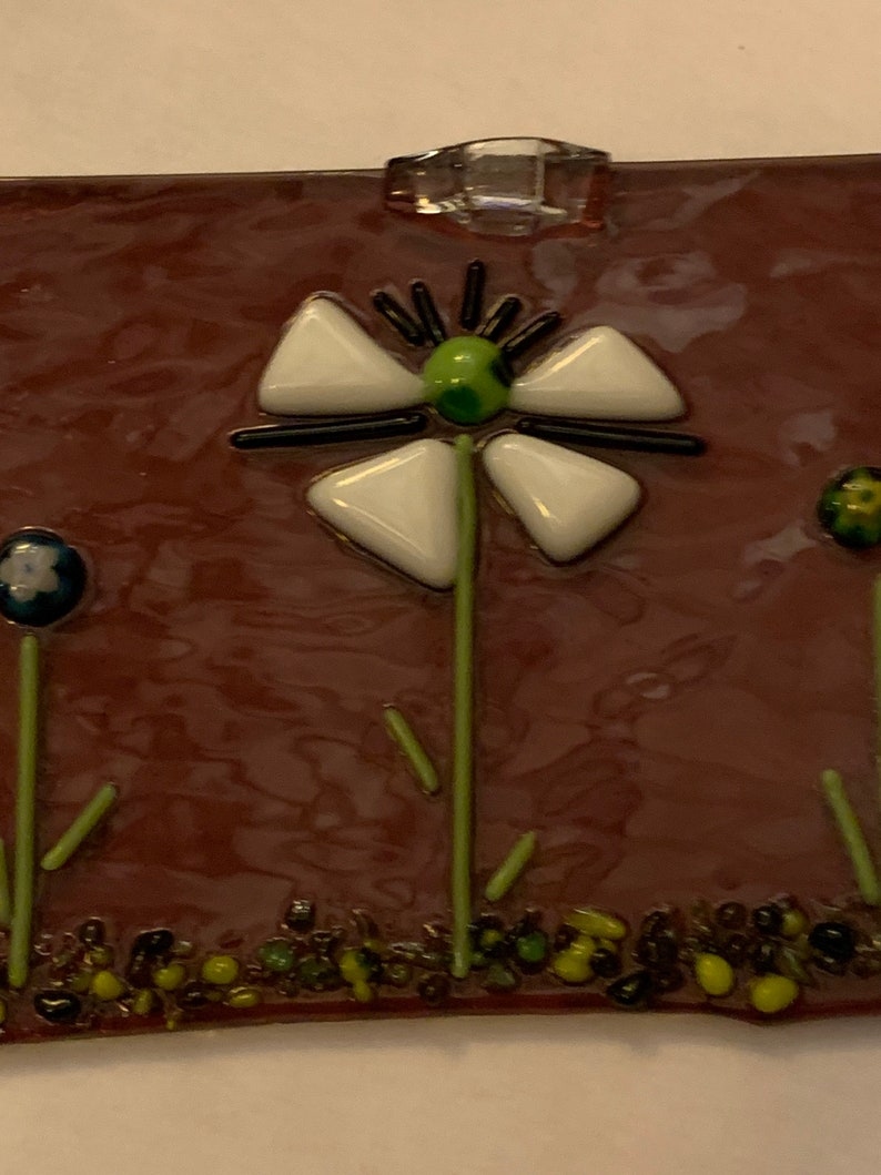 Whimsical Flower Garden on Transparent Purple background glass Handmade Fused Glass hanging panel millefleurs accents