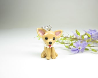 Chihuahua necklace, chihuahua jewelry, dog lover gift for her polymer clay fawn costume cute unique charm pendant miniature animal gifts