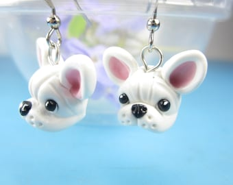 French Bulldog Earrings White - French Bulldog gifts dog lover jewelry polymer clay miniature charms dangle earrings Frenchie gift friend