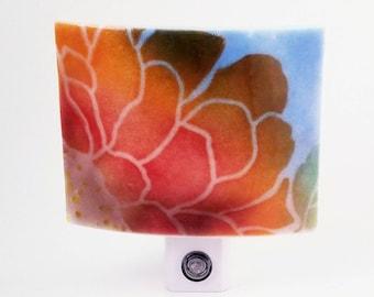 Fused Glass Red Orange and Purple Flower Against Blue Sky LED Dusk to Dawn Nightlight