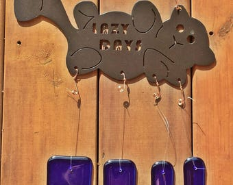 Fused Glass Fish Bones and Lazy Days Plasma Cut Metal Black Cat Wind Chime with Copper Wire