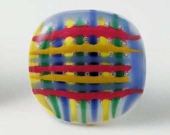 Basket Weave Pattern Multi Color Fused Glass Drawer Pull