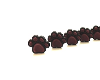 Pet Dog Cat Craft Sewing Novelty Buttons Set of 4 White on Black Paw Print