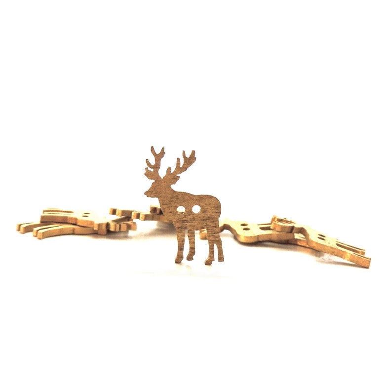 Gold Reindeer Buttons / Wood Embellishments Winter Christmas image 0