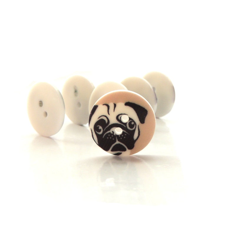 Pug Buttons by Confetti/ Novelty Embellishments Animal Pet Dog image 0
